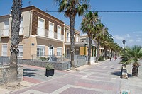 Houses on the promenade at Los Alcazares, Mar Menor, Murcia, Spain, Europe.