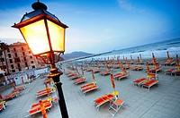 Italy, Liguria, Laigueglia, Beach at Dusk.