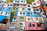 "Hundertwasserhaus (1985) is an apartment house built in the style following the """"Moldiness Manifesto"""" attributed the Austrian artist Friedensreich H..."