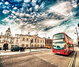 Modern Double Decker Bus in the streets of London.