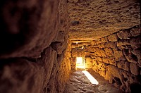 Interior of the Naveta d´Es Tudons, or Naveta of Es Tudons is the most remarkable megalithic chamber tomb in the Balearic island of Minorca, Spain.