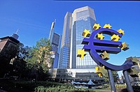 Euro symbol in front of the European Central Bank headquarters in Frankfurt, Germany Willy-Brandt-Platz