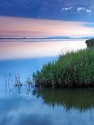Cloudy evening over Alfacs Bay. Ebro River Delta Natural Park, Tarragona province, Catalonia, Spain.