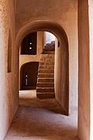 Internal view of alleyway and steps leading to roof terrace located within Rustaq Fort, Rustaq, Al Batinah South Governorate, Oman.