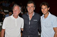 Johan Cruyff, Miguel Angel Nadal and Rafa Nadal in the presentation of the documentary The numbers 1, at the Conservatory of Music and Dance of the Ba...