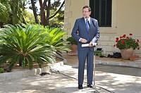 Spanish Prime Minister Mariano Rajoy at the Palace of Marivent, Palma de Mallorca, Balearic Islands, Spain