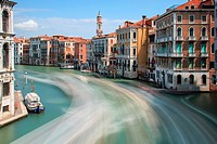 Long exposure of Grand Canal in Venice, Italy.