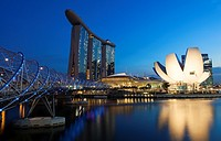The Sands Hotel, the ArtScience Museum and the Helix Bridge, Singapore.