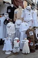 Mannequin dressed with white clothes, Eivissa, Ibiza, Balearic Islands, Spain, Mediterranean, Europe.