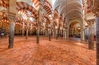 HDR of the interior of the Mosque–Cathedral of Córdoba, Córdoba, Spain.