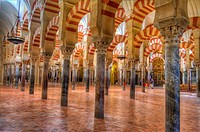 HDR of the interior of the Mosque-Cathedral of Córdoba, Córdoba, Spain.