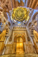 HDR of the Mihrab interior of the Mosque-Cathedral of Córdoba, Córdoba, Spain.