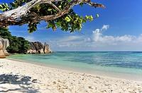 Source d'Argent, Beach on island La Digue, Seychelles.