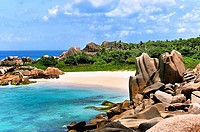 Grande L'Anse, Beach on Island La Digue, Seychelles.