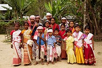 Children in traditional dress for Bihu dance, Assam.