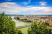 Panoramic view overlooking the city of Budapest on the Danube in Hungary.