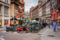 Hundreds of bicycles at a parking station in Strasbourg rance.