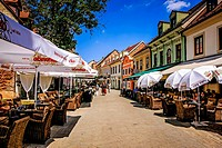 Parasols and pubs in Tkalciceva Street, old town Zagreb.