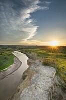 Sunset over the Little Missouri River, Theodore Rossevelt National Park, North Dakota.