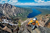 climbing the Chockstone Couloir, AKA the Boy Scout Couloir an alpine route which is rated Grade 3, Class 4 and located on The Grand Mogul in the Sawto...
