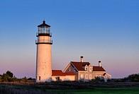Rustic, weathered lighthouse, Highland Light, Truro, Cape Cod, Massachusetts, USA.