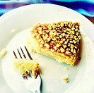 Cake with oatmeal flakes and fork.