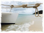 A catamaran moored at Turner's Beach, Antigua, Antigua and Barbuda, Leeward Islands, West Indies in the Caribbean.
