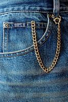 Pocket watch in blue jean fifth pocket.