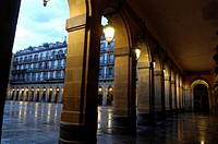 Porches on the Constitution square in San Sebastian, Basque Country, Guipúzcoa, Spain