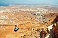 Cable car heading down from Masada, Israel.