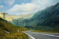 Serpentine road in the mountains of Romania. Pass Transfegerash.
