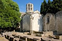 Gallo-roman sarcophagi, Alyscamps, gallo-roman necropolis, and Saint Honorat church, lantern tower steeple, 12thc., Arles, 13 Bouches du Rhone, Proven...