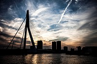 Sunset skyline of the Erasmus Bridge Rotterdam, the Netherlands.