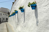 Blue Pots on a street in Mijas Malaga