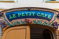 Collioure, France, Detail, Old French Sign, on Café Facade in Seaside Village near Perpignan, South of France.´ Le Petit Café´