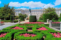 The great and imposing Palacio Real (Royal Palace) of Madrid, seen here in June from Plaza de Oriente gardens centered by a statue to Philipp IV, famo...