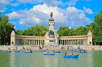 Monument to Alfonso XII of Spain next to Retiro Park´s great pond in Madrid (1922); renting of amusement rowboats remember also the time when it serve...
