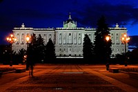 Northern façade of the Palacio Real (Royal Palace) of Madrid from the Sabatini Gardens, named for the Italian architect from 18th century which built ...