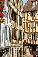 Medieval houses facades, half timbered, old town, Macon, Saône et Loire, 71, Bourgogne, France.