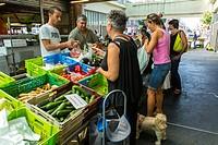"Bordeaux, France,, People Shopping, French Food Market, """"Marché des Capucins""""."