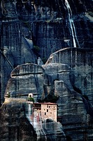 The Spectacular Meteora Mountains with monasteries, Plain of Thessaly, Greece, Europe.