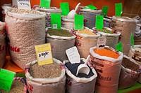 Different legumes in sacks at the Mercado de Nuestra Senora de Africa market, Santa Cruz, Tenerife, Canary Islands, Spain, Europe.