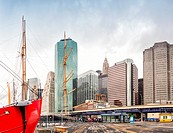 NEW YORK CITY: South Street Seaport and Pier 17 in Lower Manhattan. The area includes modern tourist malls featuring food, shopping and nightlife, wit...