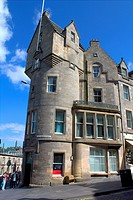 Architecture in the Streets of the Old Town of the city of Edinburgh in Scotland, United Kingdom.