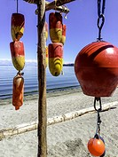 Colourful floats hanging on beach in Victoria British Columbia.