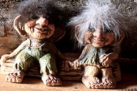 Norwegian trolls souvenirs for sale in a gift shop, Norway, Europe.