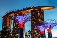 Gardens by the Bay and Marina Bay Sands Hotel at night. Singapore, Asia.