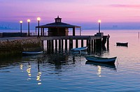 Pier at dusk, Puerto Real, Cadiz province, Region of Andalusia, Spain, Europe.
