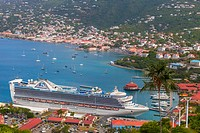 A cruise ship in port at Charlotte Amalie, St. Thomas, US Virgin Islands viewed from Paradise Point.