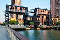 Long Island City - Gantry Plaza State Park gigantic gantries transfer bridges in Long Island City located in the borough of Queens, New York.